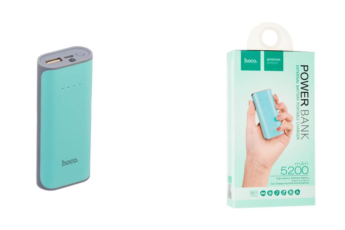 Универсальный дополнительный аккумулятор HOCO Power Bank 5200 mAh  мятный