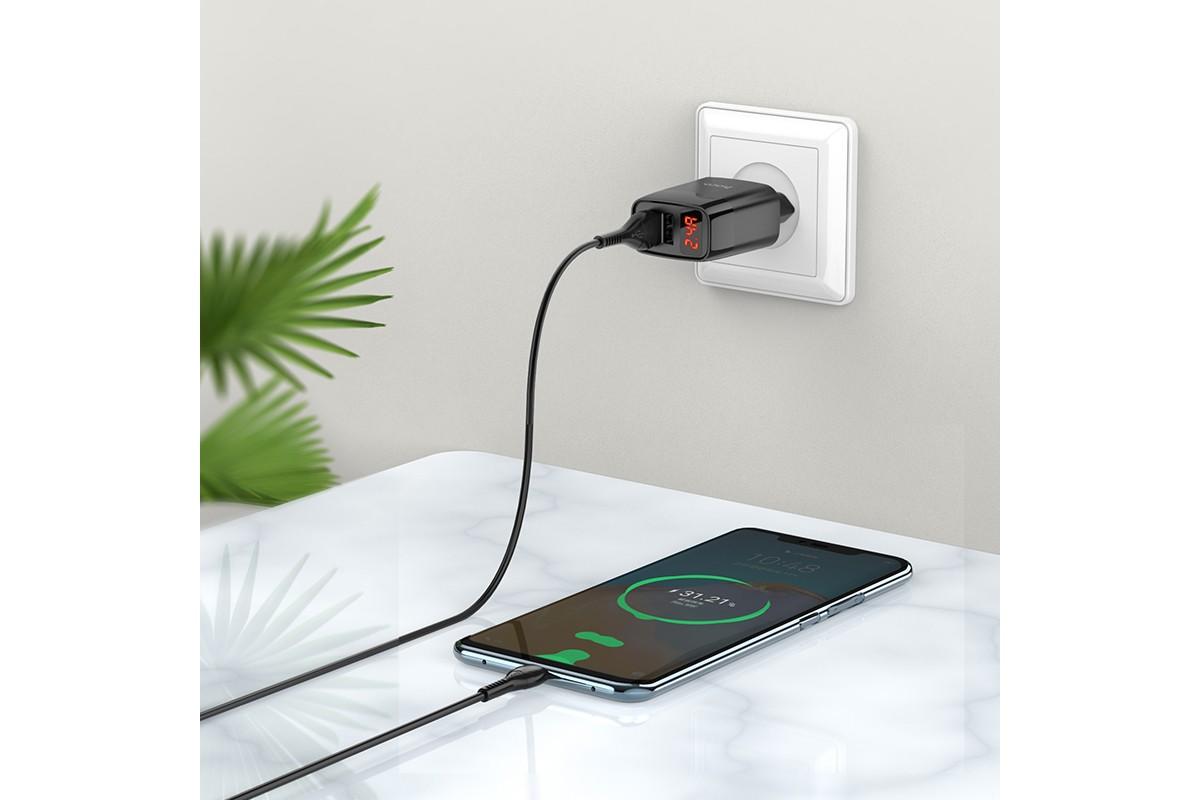 Сетевое зарядное устройство 2USB + кабель Type-C HOCO С86A Illustrious double port charger черный