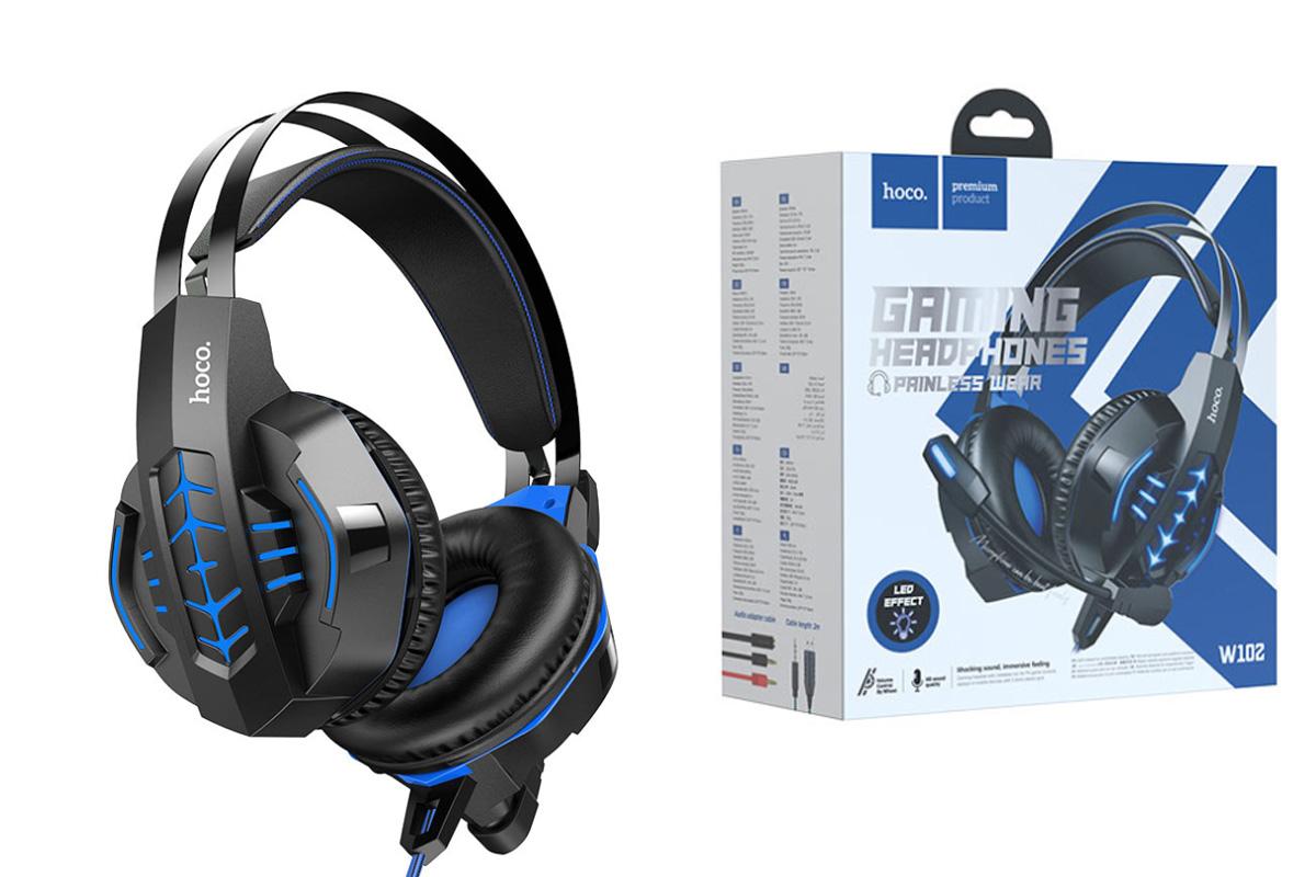 Наушники игровые HOCO W102 Cool tour gaming headphones черно синие