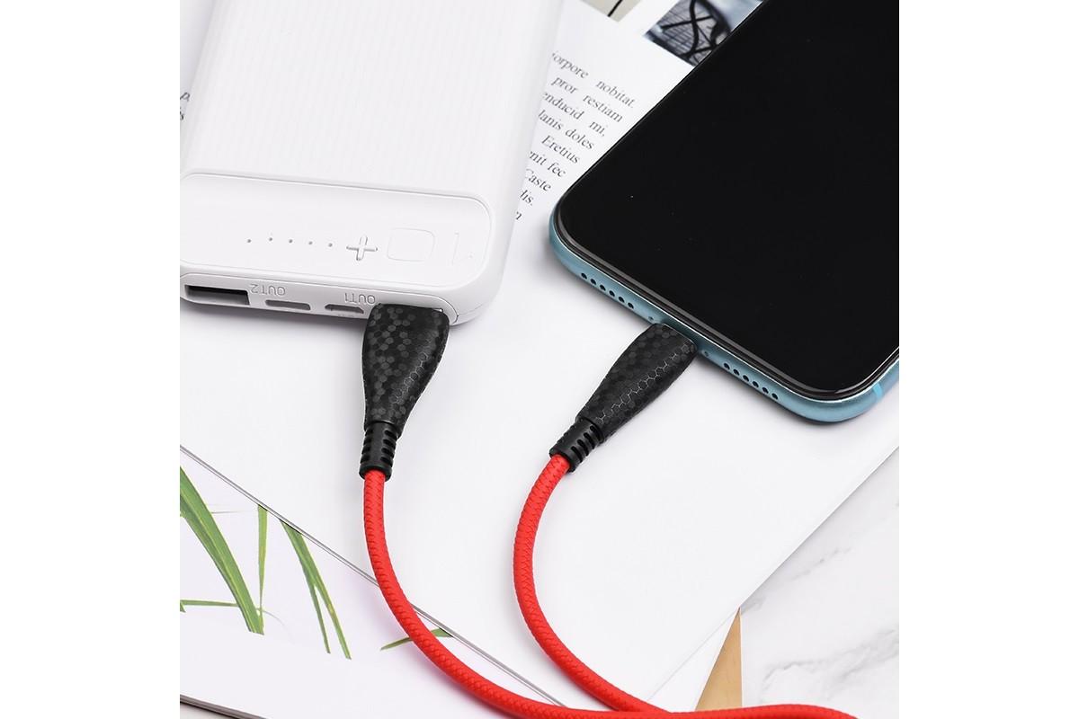 Кабель для iPhone BOROFONE BX38 Cool charge charging data cable for Lightning 1м красный