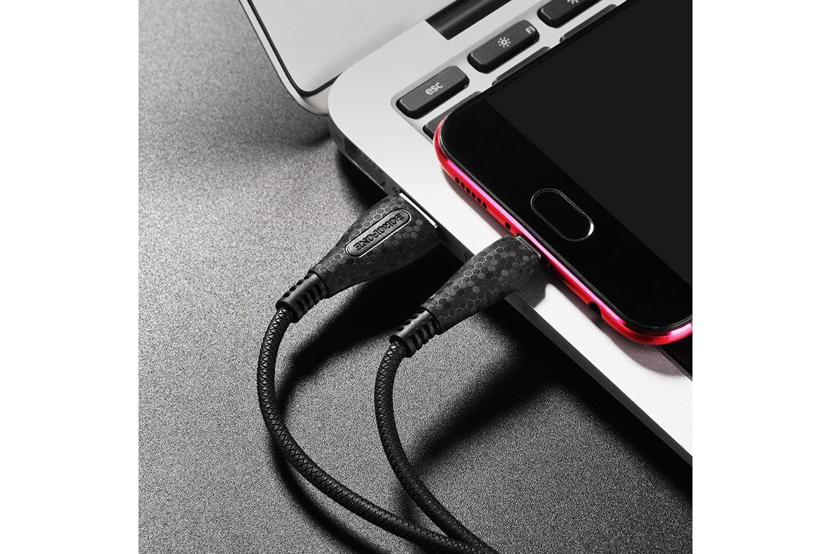 Кабель USB micro USB BOROFONE BX38 Cool charging data cable (черный) 1 метр