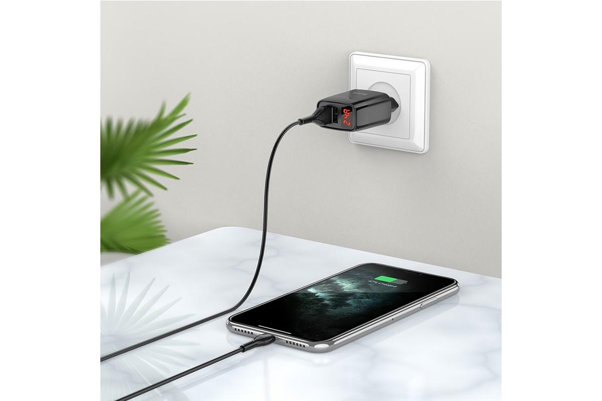 Сетевое зарядное устройство 2 USB 2400mAh +  iPhone 5/6/7 HOCO С86A Illustrious черный
