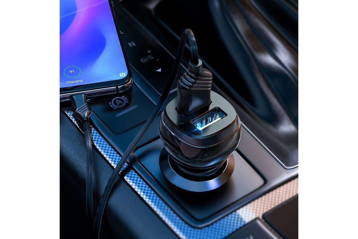 Автомобильное зарядное устройство 2USB 2400mAh HOCO Z40 Superior dual port car charger set (Type-C) черный