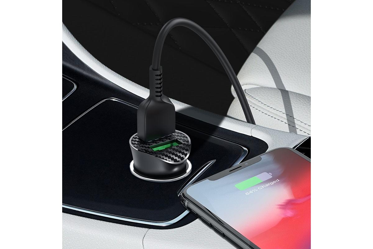 Автомобильное зарядное устройство 2USB HOCO Z39 + кабель Lightning черный