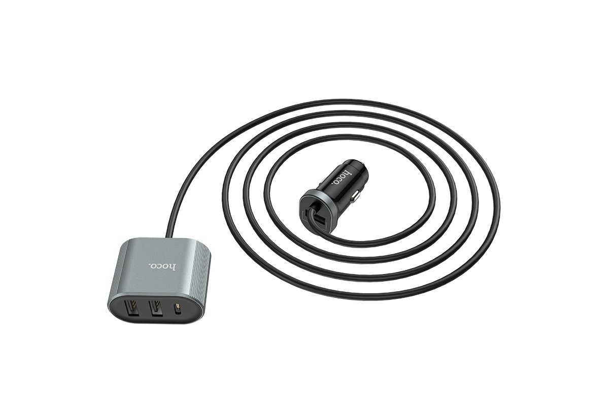 Автомобильное зарядное устройство 2USB HOCO Z35 Companheiro front and real set QC3.0 car charger черный