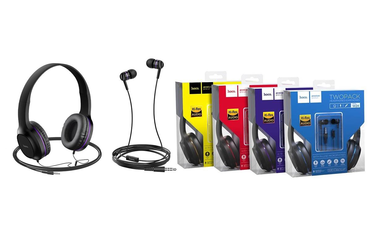 Внешние наушники/гарнитура  HOCO W24 Enlighten wireless headphones фиолетовый