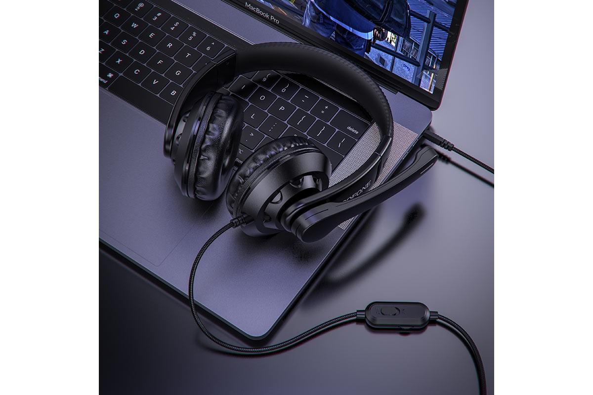 Наушники игровые  BO102 BOROFONE Amusement gaming headphones черный (игровые с гарнитурой)