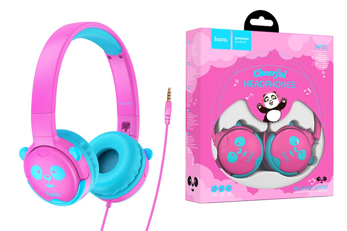 Внешние наушники HOCO W31 Childrens headphones розовые (панда)