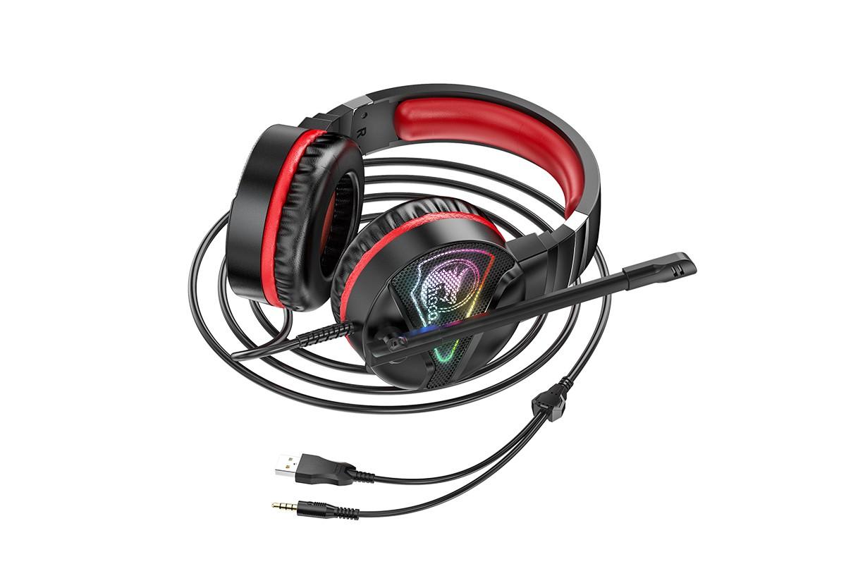 Наушники игровые HOCO W104 Drift gaming headphones черно красные