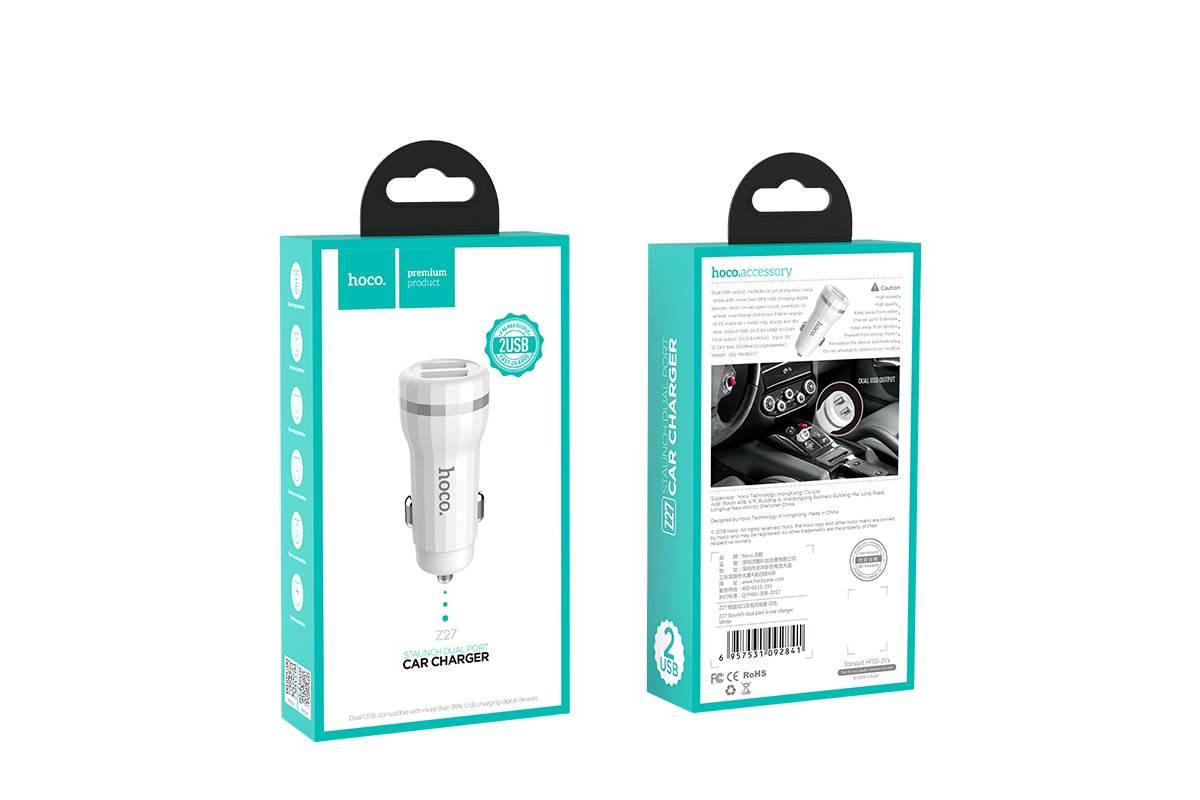 Автомобильное зарядное устройство 2USB 2400mAh HOCO Z27 +кабель Type-C белый