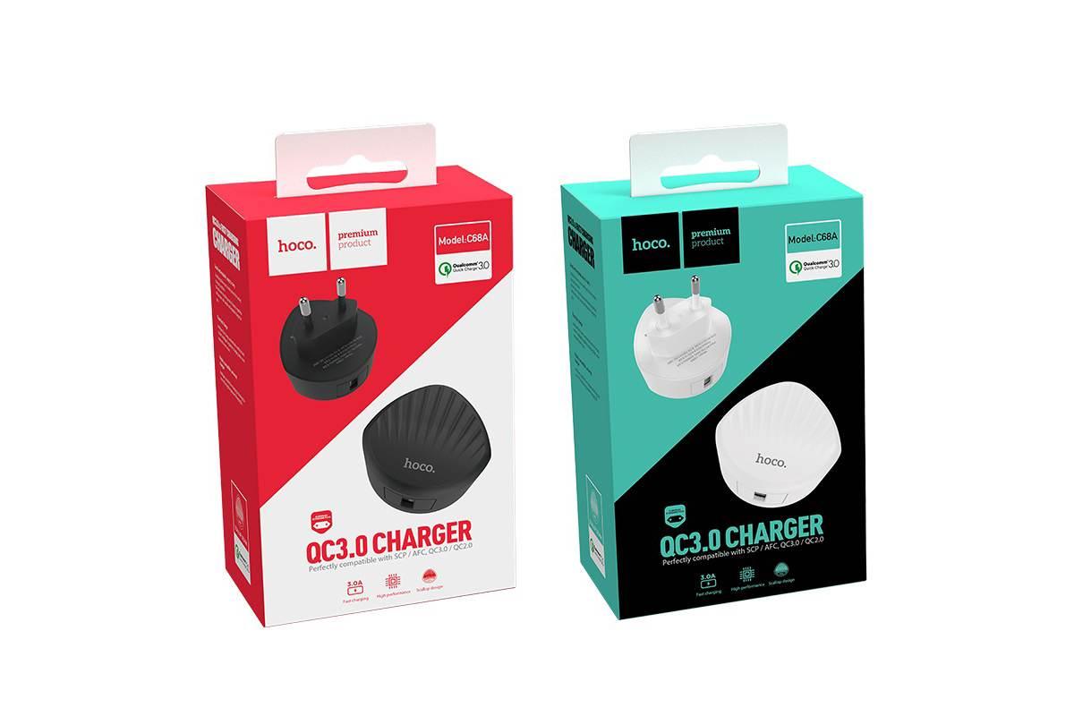 Сетевое зарядное устройство USB 2400mAh HOCO C68A Shell single port QC3.0 charger белый