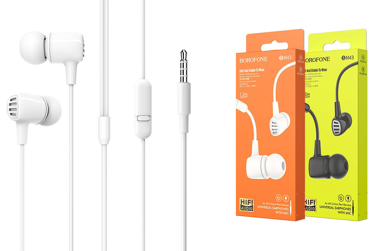 Гарнитура BOROFONE BM43 Remy universal earphones 3.5мм цвет белая