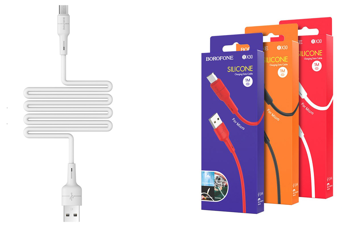 Кабель USB micro USB BOROFONE BX30 Silicone charging data cable for Micro (белый) 1 метр