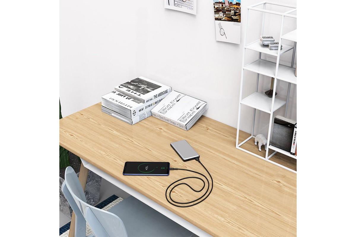 Кабель USB BOROFONE BX30 Silicone charging data cable for Type-C (черный) 1 метр
