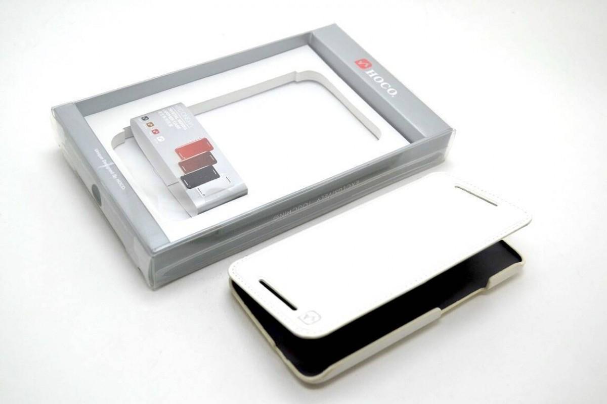 Чехол книжка HTC One Crystal Leather Case HOCO (белый)