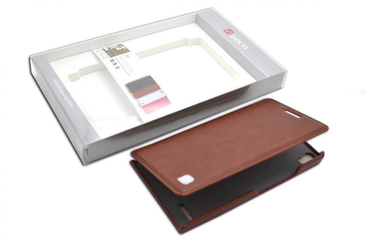 Чехол книжка Huawei Ascend P6 Crystal Leather Case (коричневый) HOCO