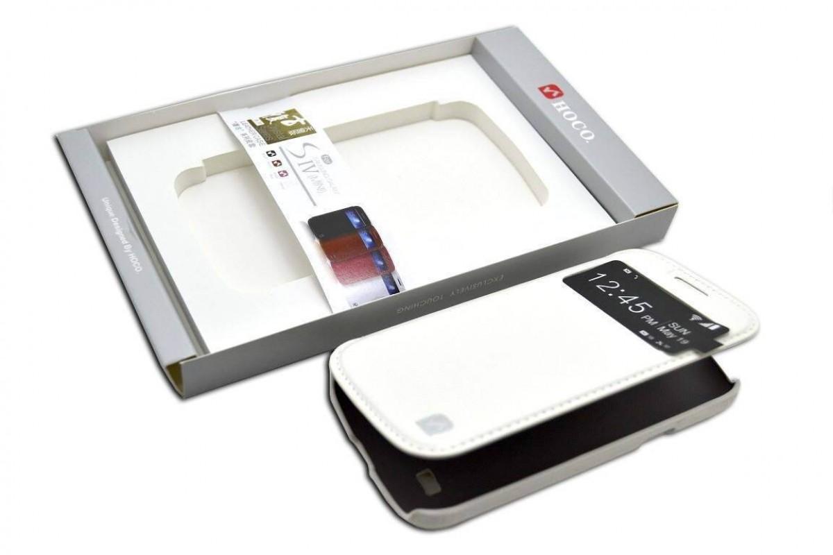Чехол-книжка Samsung i9190 Galaxy S4 mini Crystal view Leather Case (белый) HOCO