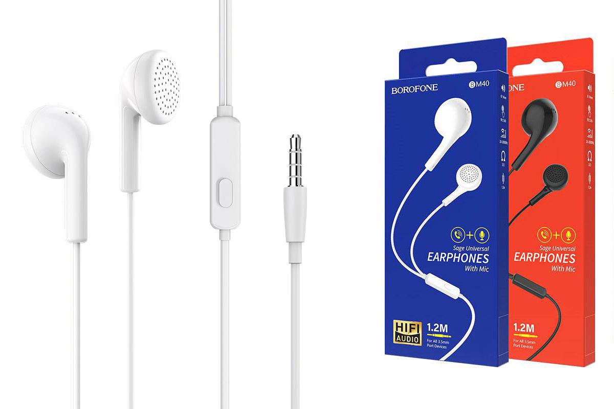 Гарнитура BOROFONE BM40 Sage universal earphones 3.5мм цвет белая