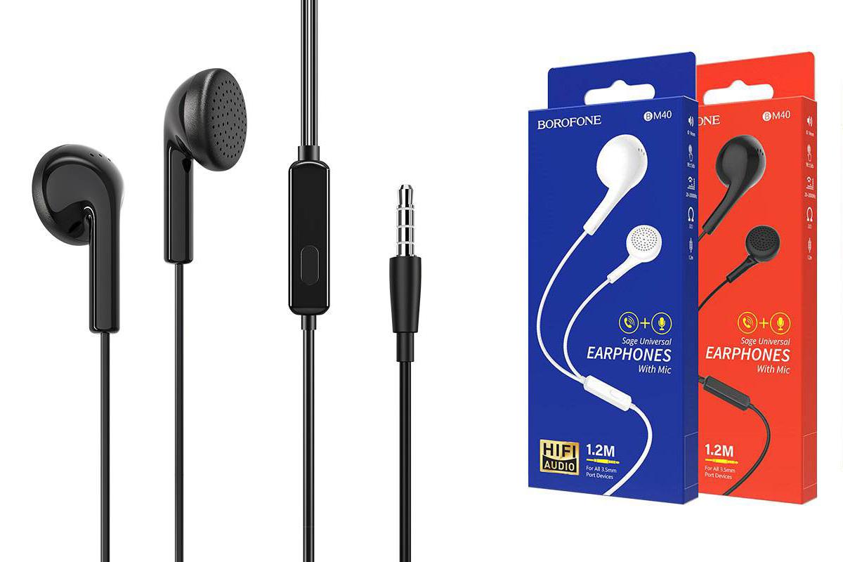 Гарнитура BOROFONE BM40 Sage universal earphones 3.5мм цвет черная