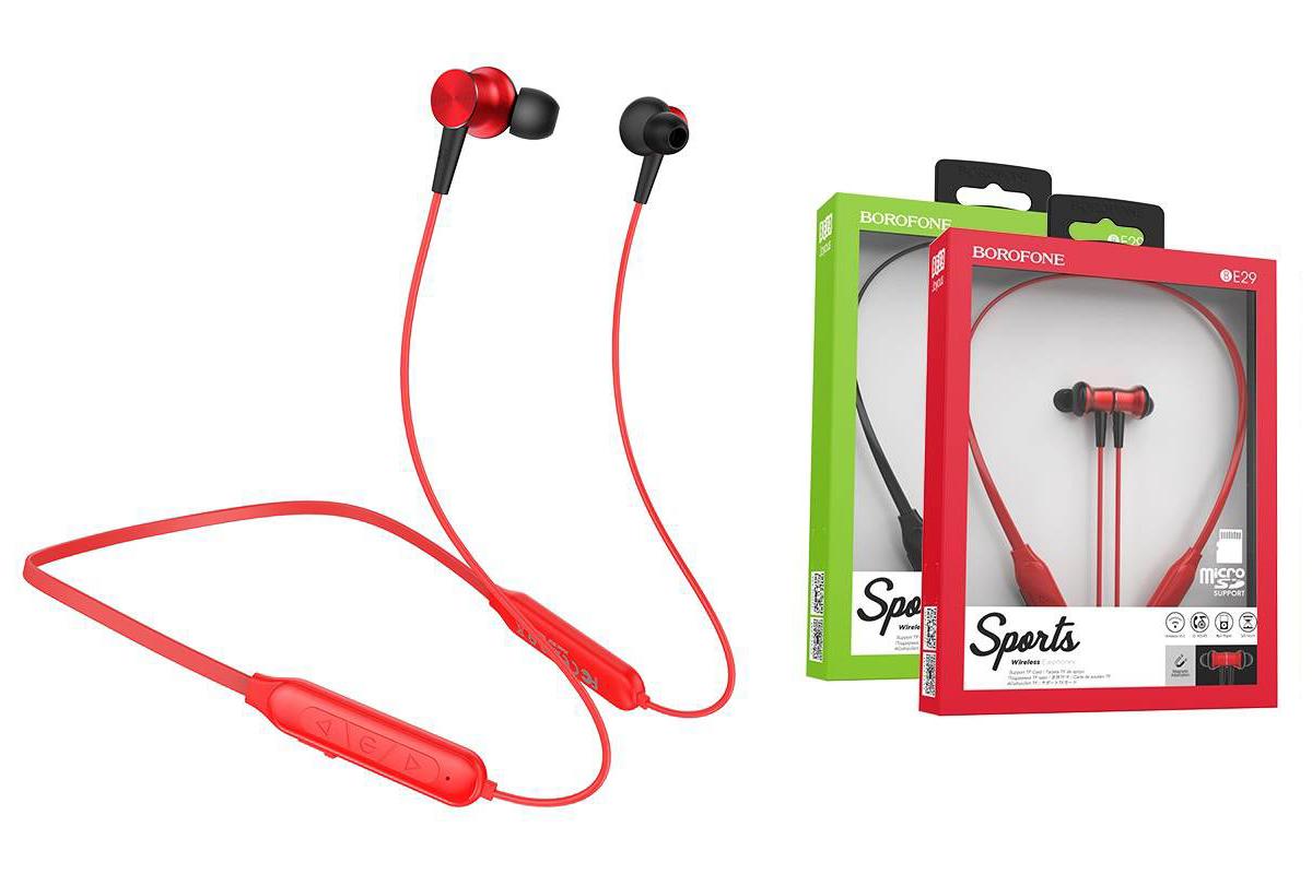 Bluetooth-гарнитура BE29 BOROFONE Joyoys sports красная