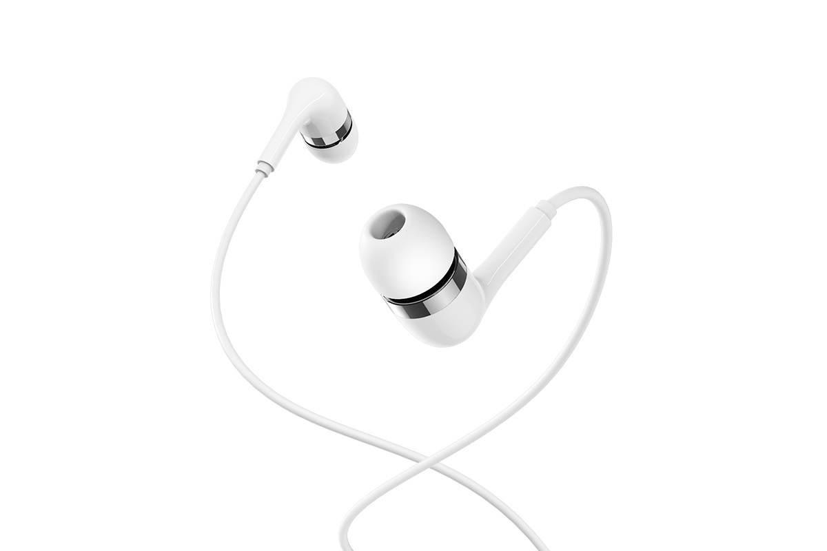 Гарнитура BOROFONE BM39 Refined chat universal earphones 3.5мм цвет белая
