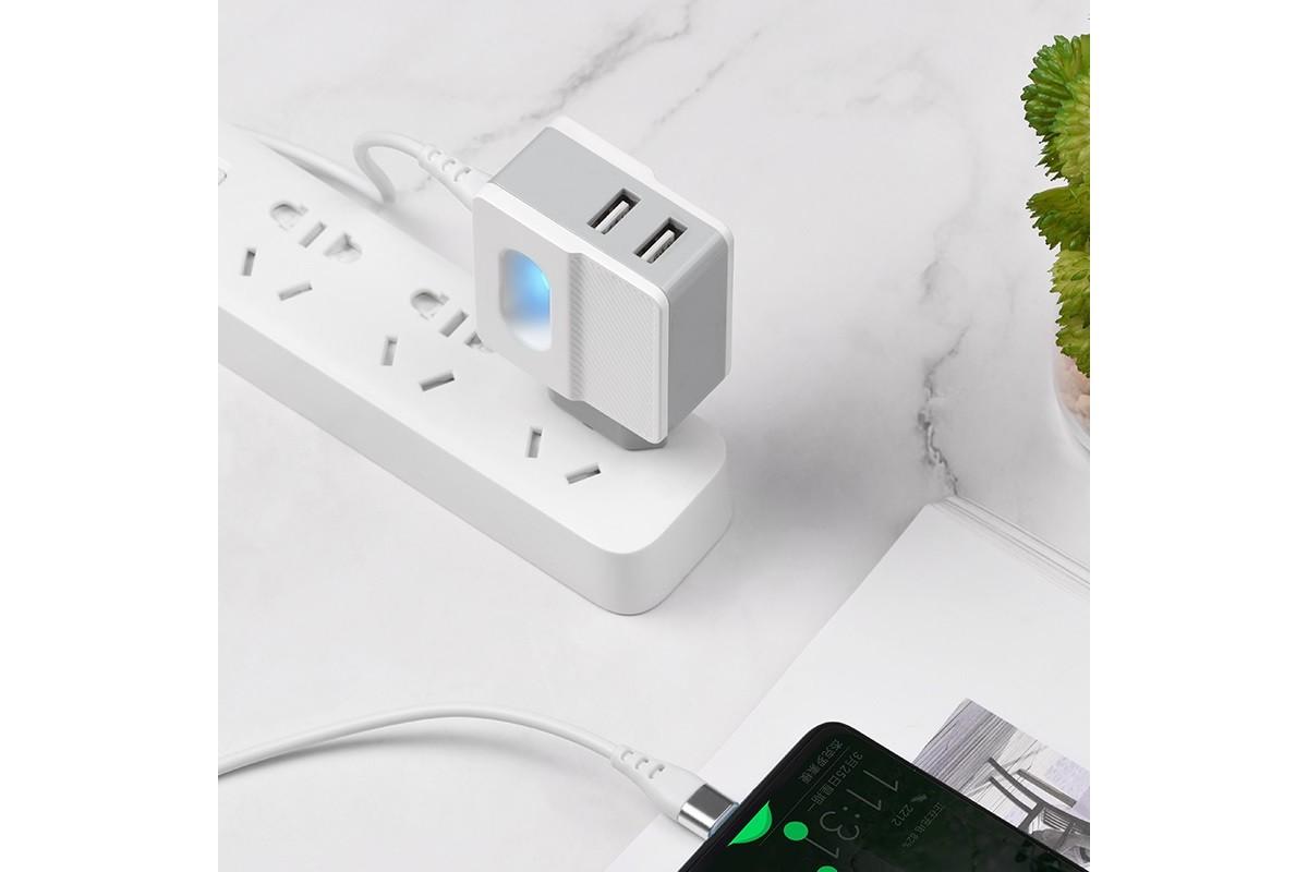 Сетевое зарядное устройство USB 2400 mAh + кабель micro USB HOCO C72А белый