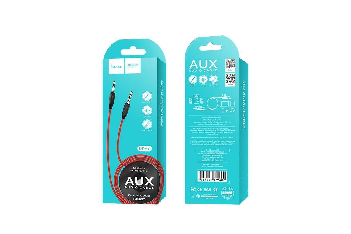 Кабель удлинитель HOCO UPA11 AUX Audio cable 3.5 1 метр красный