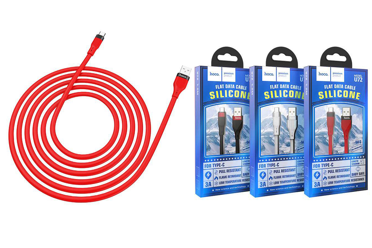 Кабель USB HOCO U72 Forest Silicone charging cable for Type-C (красный) 1 метр
