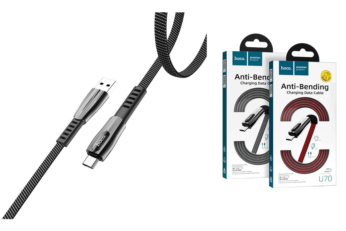Кабель USB micro USB HOCO U70 Splendor charging data cable  (серый) 1 метр