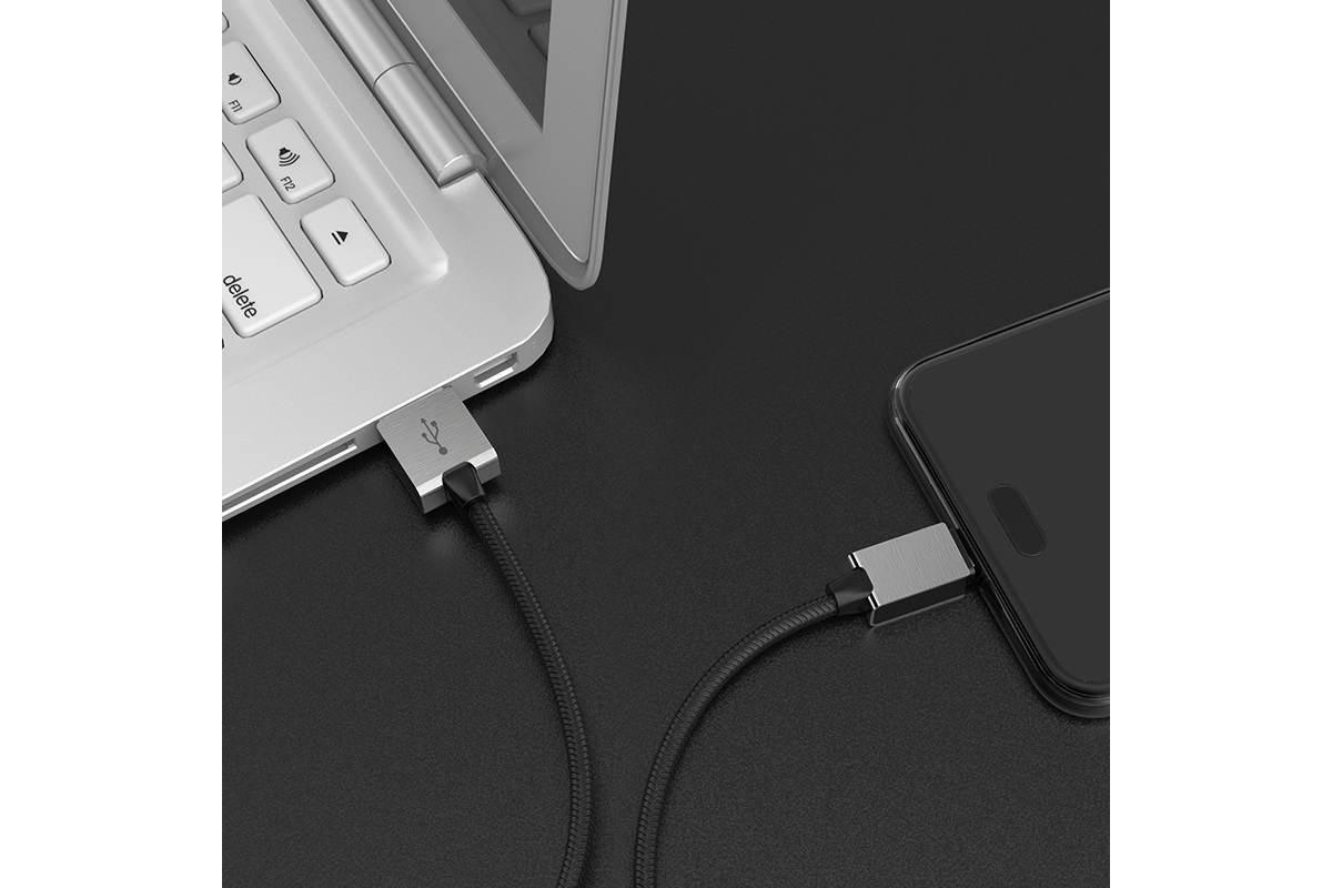 Кабель USB micro USB HOCO U49 Refined steel charging data cable (черный) 1 метр