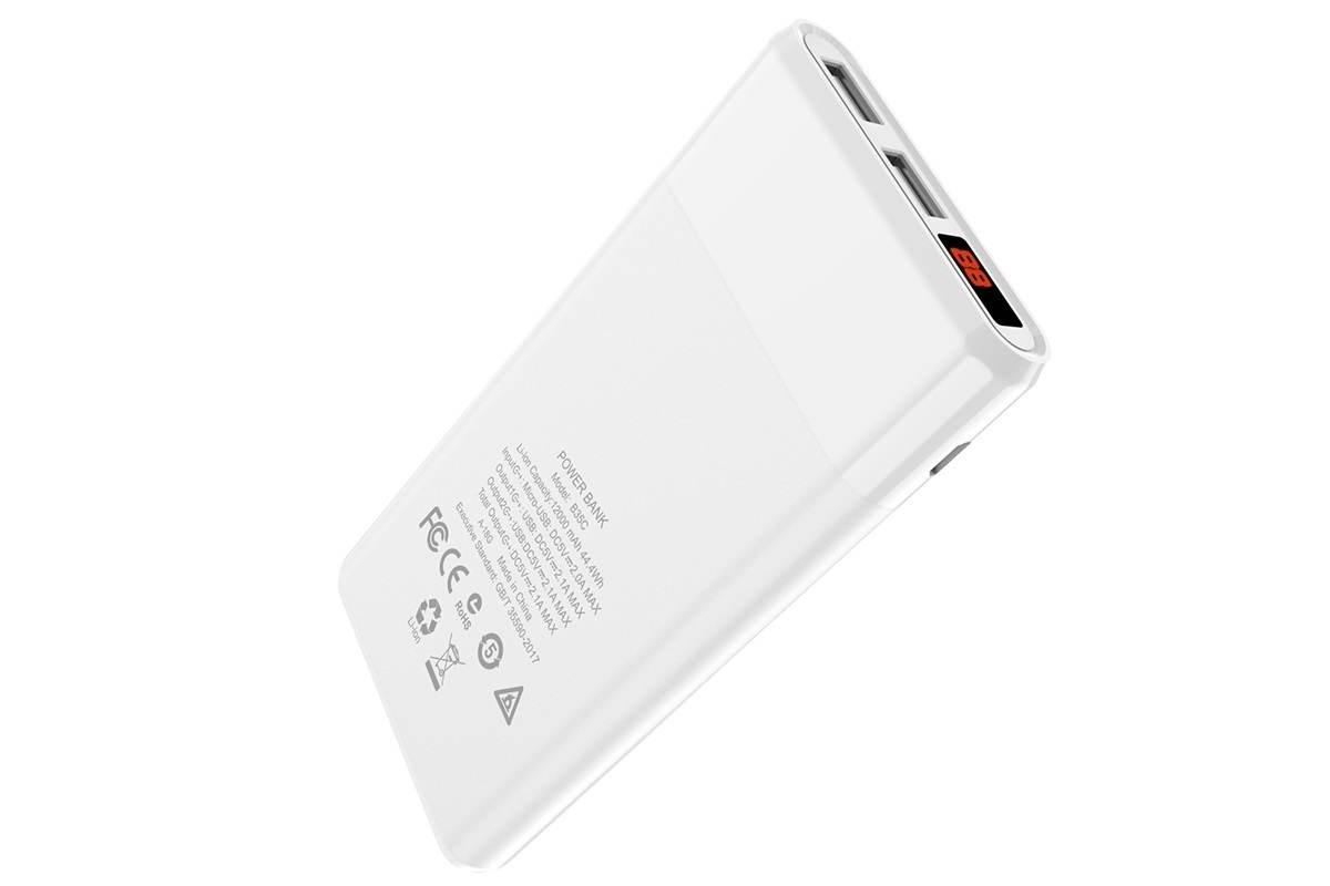 Универсальный дополнительный аккумулятор HOCO B35C 12000 mAh Entourage mobile power bank белый