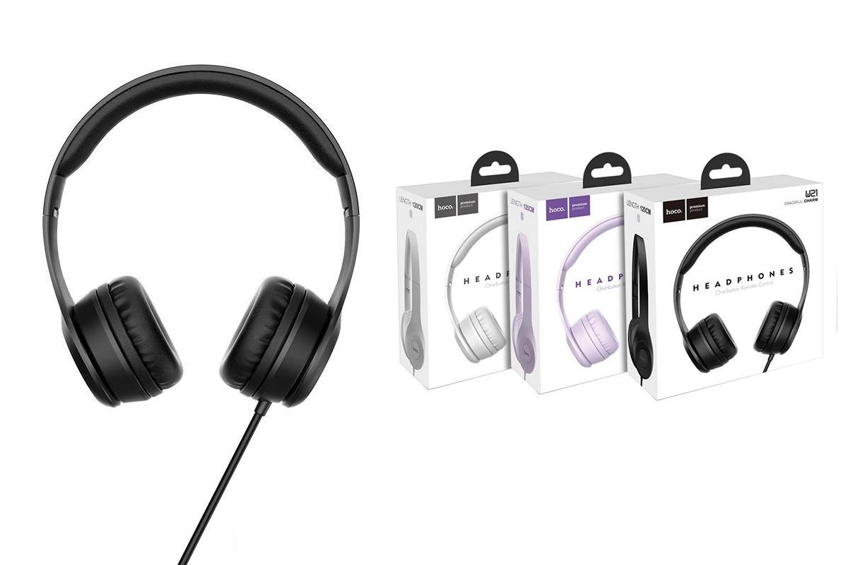 Внешние наушники/гарнитура  HOCO W21 Graceful charm wire control headphones черный