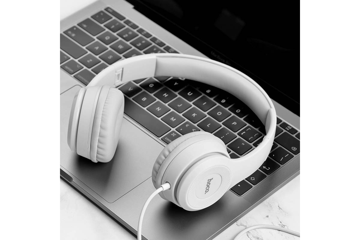 Внешние наушники/гарнитура  HOCO W21 Graceful charm wire control headphones белый