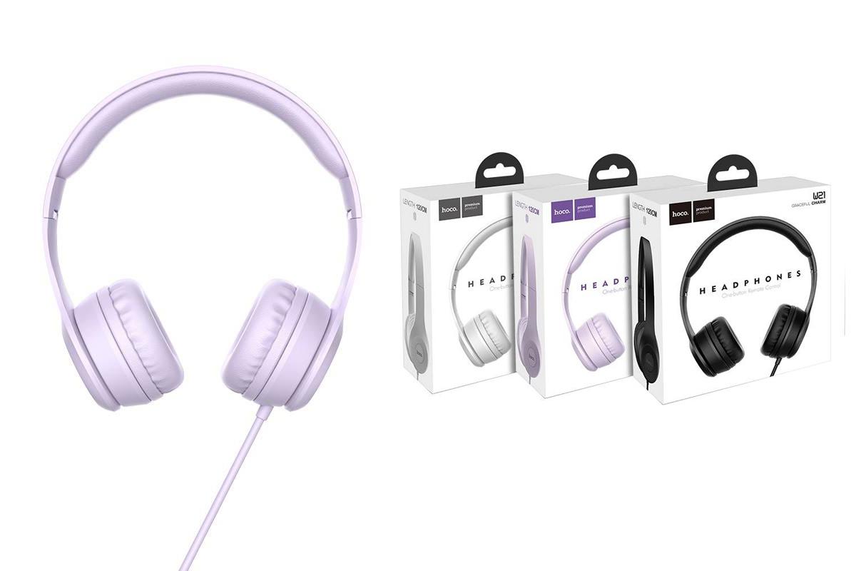Внешние наушники/гарнитура  HOCO W21 Graceful charm wire control headphones фиолетовый