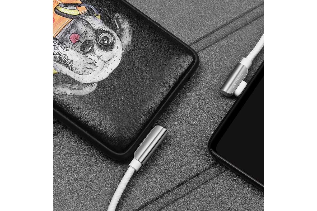 Кабель USB micro USB HOCO U42 exquisite steel micro charging data cable (белый) 1 метр