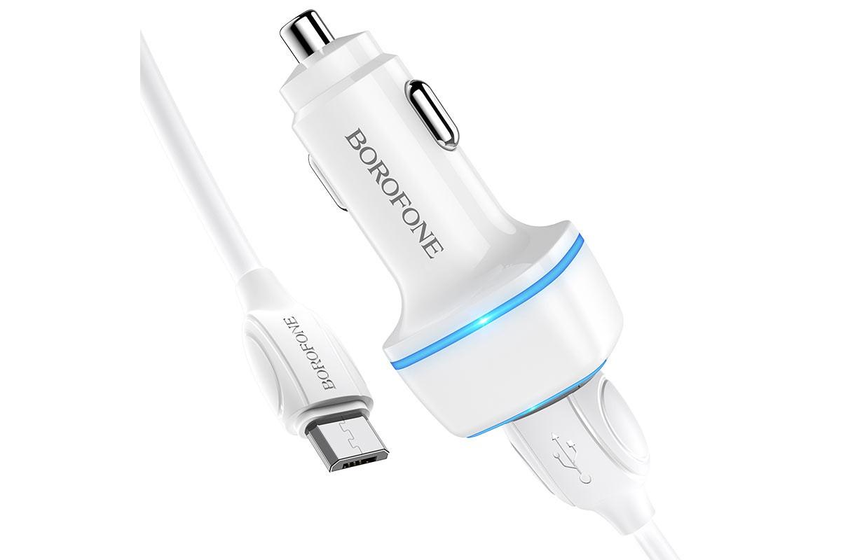 Автомобильное зарядное устройство 2USB 2400 mAh BOROFONE BZ14 Max double port ambient light + кабель micro USB белый