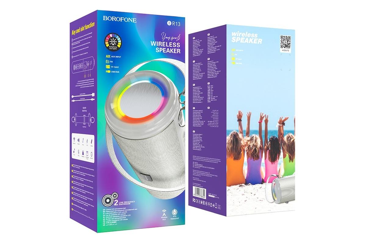 Портативная беспроводная акустика BOROFONE BR13 Young sports BT  цвет серый