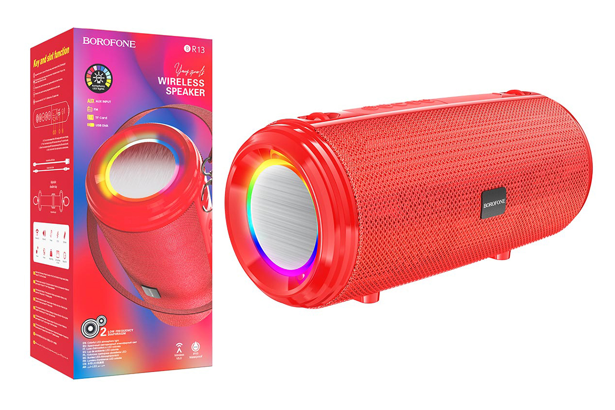Портативная беспроводная акустика BOROFONE BR13 Young sports BT  цвет красная