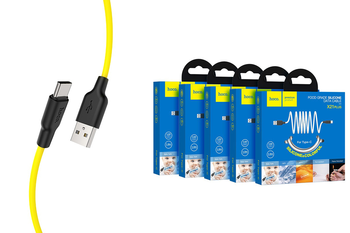 Кабель USB HOCO X21 Plus Silicone charging cable for Type-C (черно-желтый) 1 метр