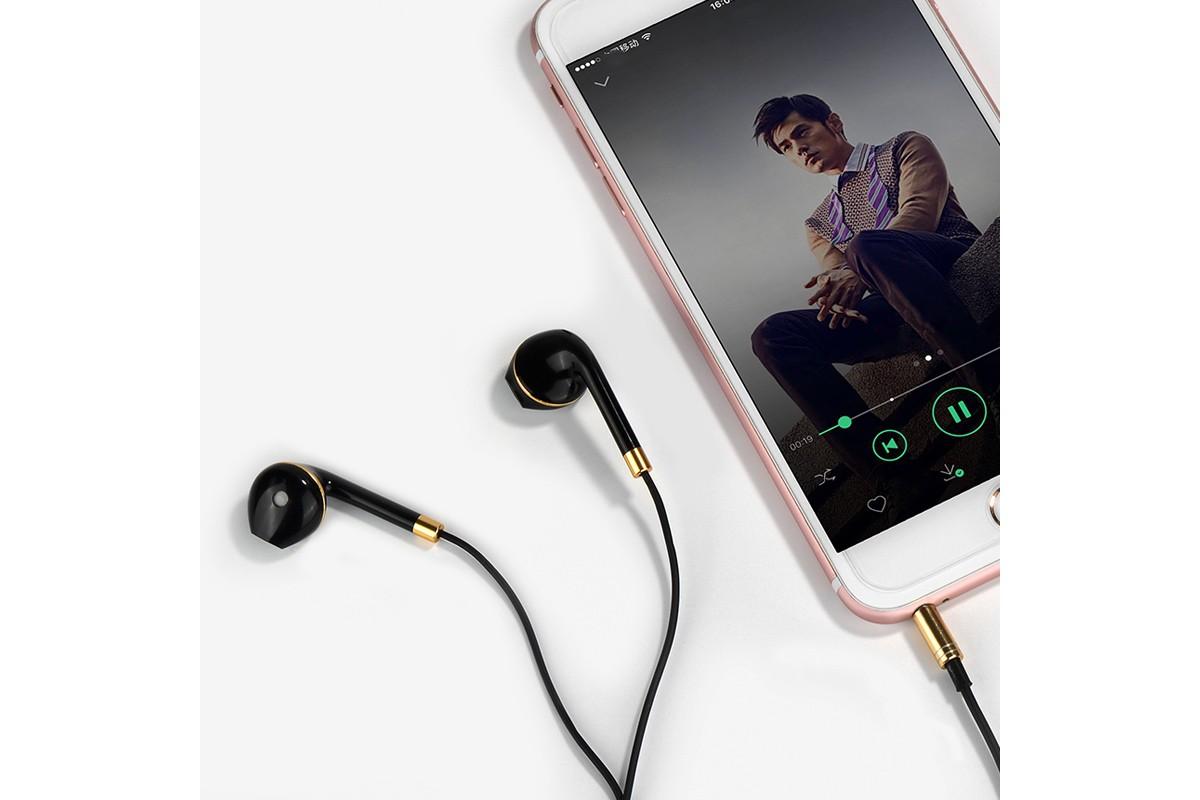 Гарнитура HOCO M1 (наушники с микрофоном) iPhone 5/5S/5SE/5C цвет черный (под оригинал)