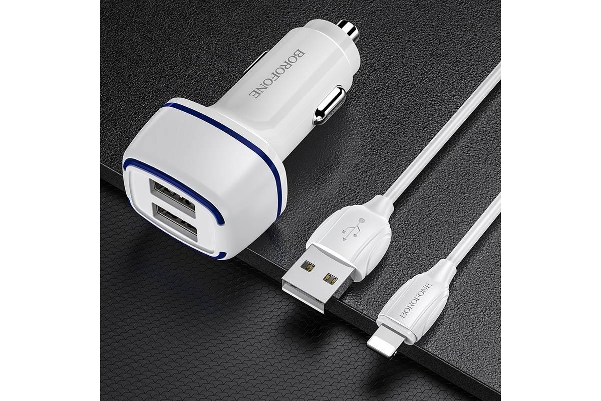 Автомобильное зарядное устройство 2USB 2400 mAh BOROFONE BZ14 Max dual port + кабель iPhone Lightning белый