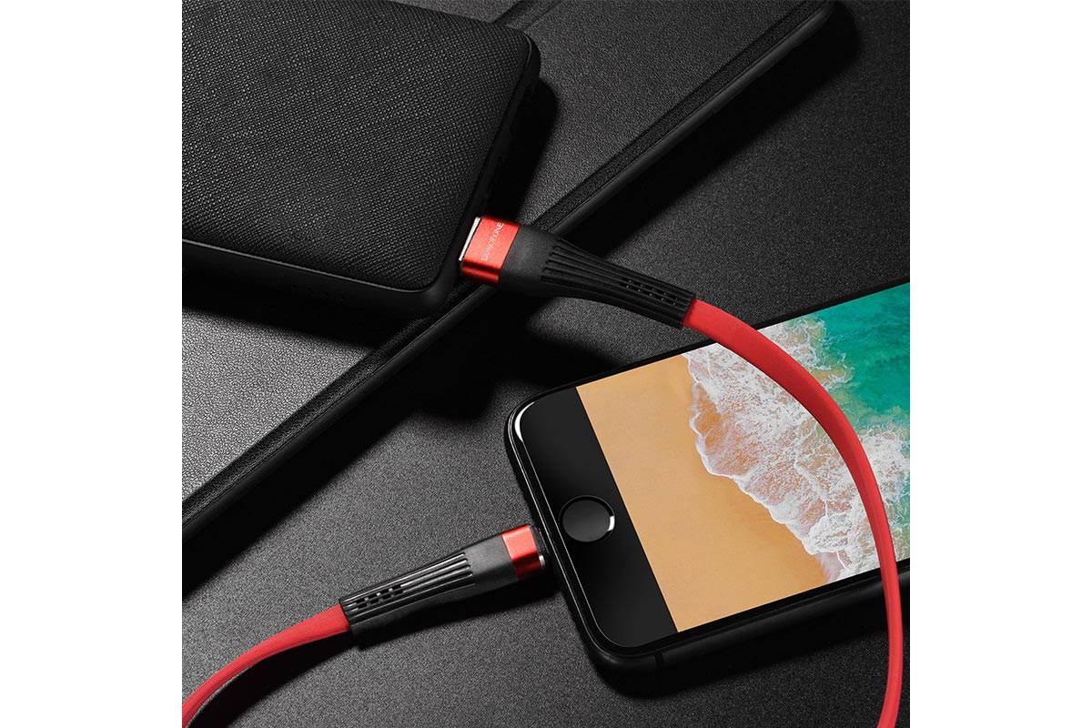 Кабель для iPhone BOROFONE BU4 small maistline lightning cable 1м красный