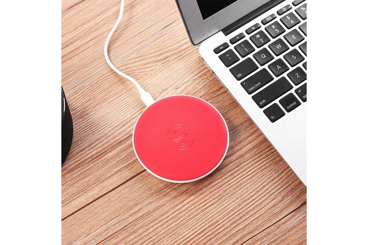 Настольная беспроводная зарядная станция HOCO CW14 round wireless charger красная