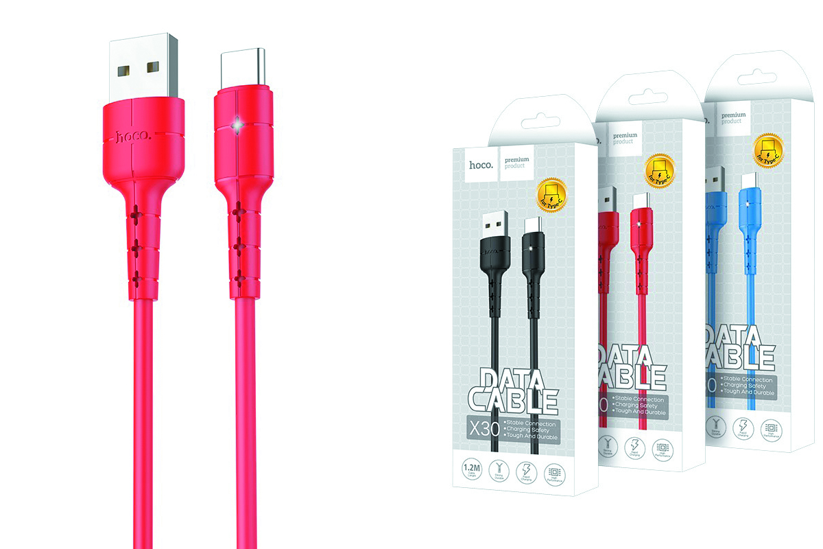 Кабель USB HOCO X30 Star charging data cable for Type-C (красный) 1 метр
