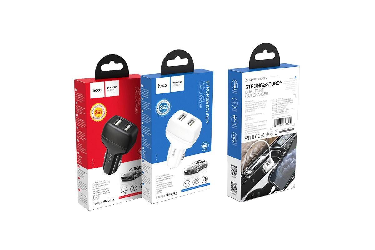 Автомобильное зарядное устройство 2USB HOCO Z36 Leader dual car charger белый
