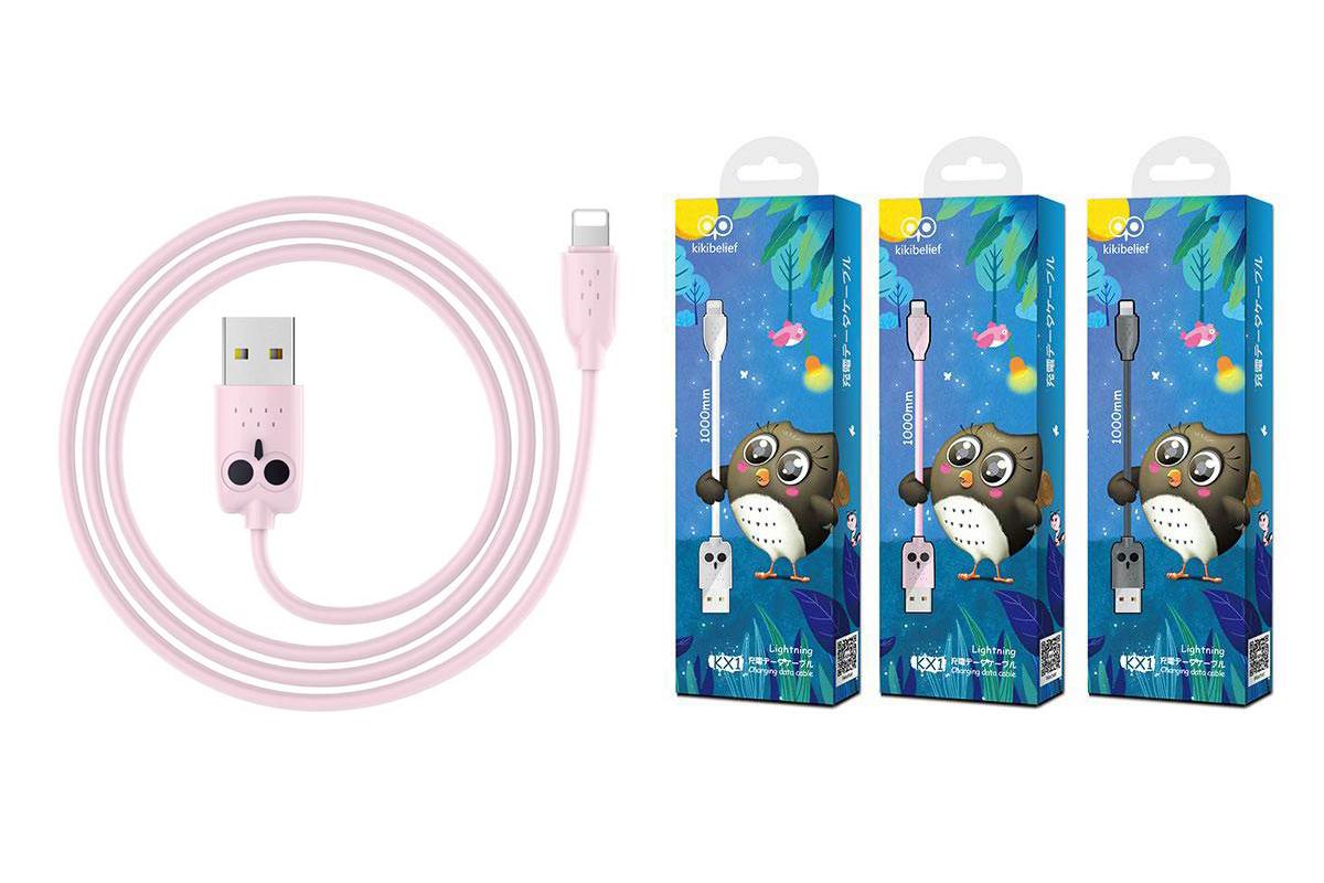 """Кабель для iPhone HOCO KX1 Lightning charging data cable 1м розовый """"Совенок"""""""