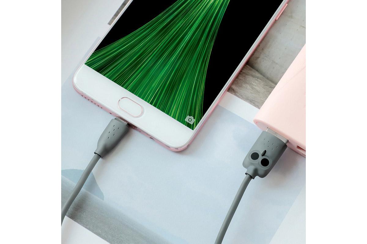 "Кабель USB micro USB HOCO KX1 Micro-USB charging data cable (серый) 1 метр ""Совенок"""
