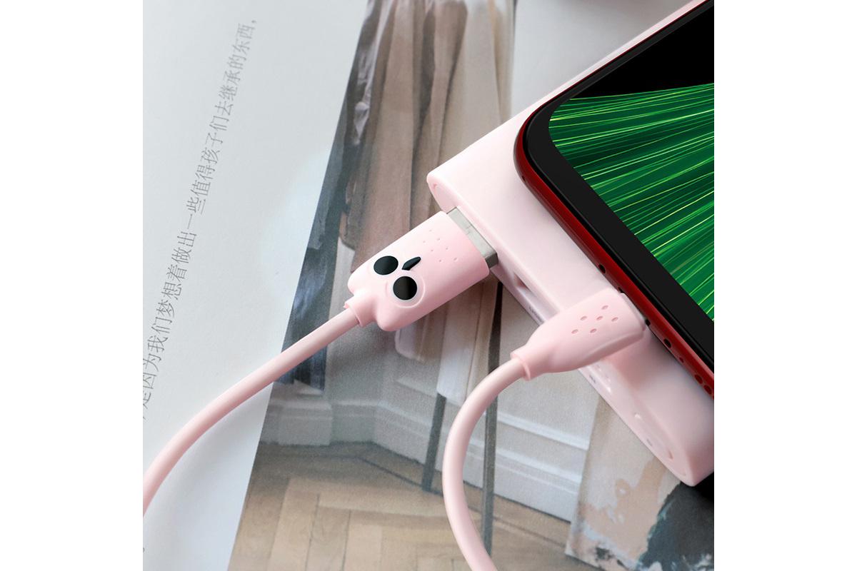 "Кабель USB micro USB HOCO KX1 Micro-USB charging data cable (розовый) 1 метр ""Совенок"""