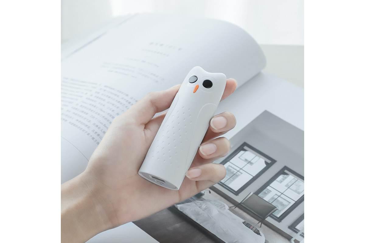 """Универсальный дополнительный аккумулятор HOCO KJ1 mobile power bank  2500 mAh белый """"Совенок"""""""