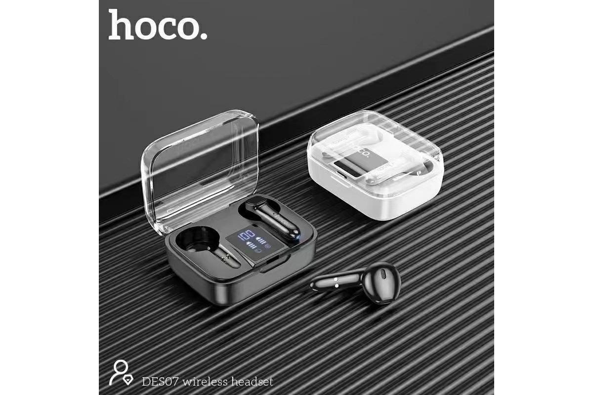 Беспроводные наушники DES07 TWS wireless headset  HOCO белые